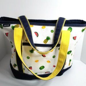 Land's End Fruit Print Large Canvas Tote